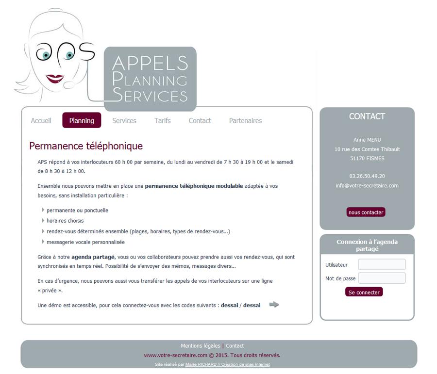 Aperçu du site d'APS