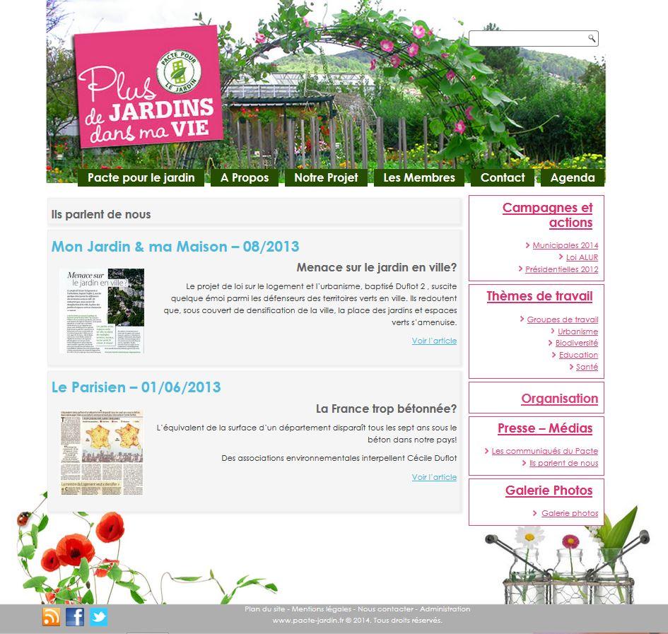 Site de pacte pour le jardin
