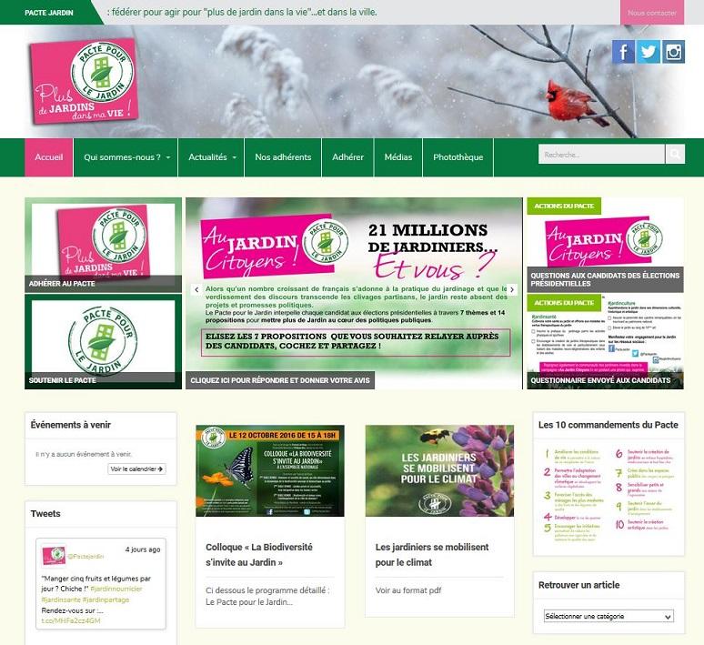 site internet Pacte pour le Jardin