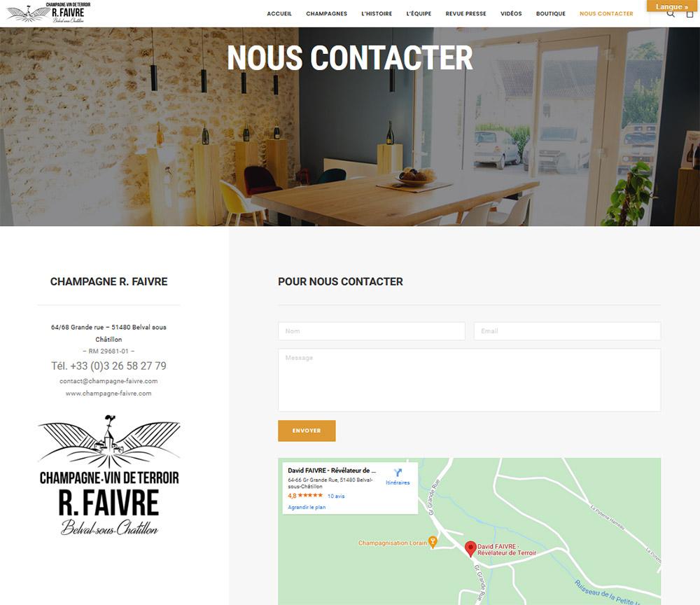 Site internet Champagne R.Faivre